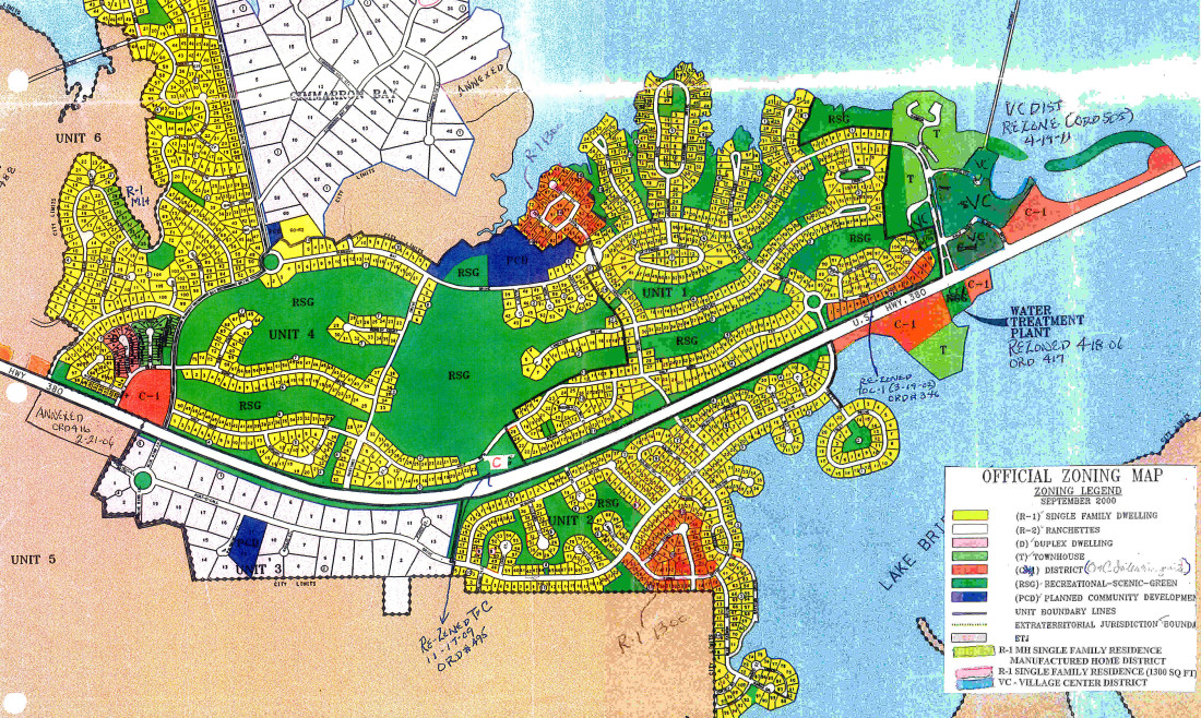 Tx Zoning Map This Is For Historic Purposes As It Includes Neither Areas That Have Been Incorporated Into Runaway Bay Or Changes Since The